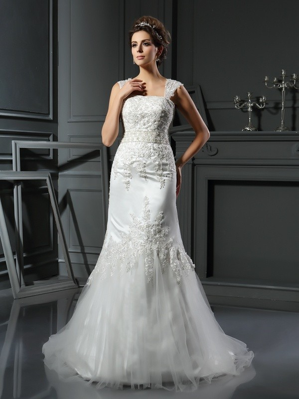 Trendy Mermaid Straps Cut Satin Long Wedding Dresses With Applique