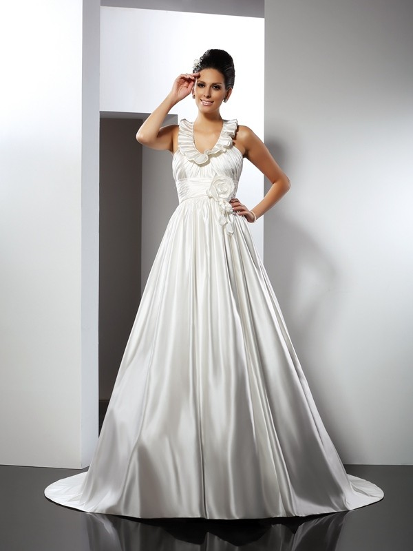 Pretty A-Line Halter Cut Satin Long Wedding Dresses With Hand-Made Flower