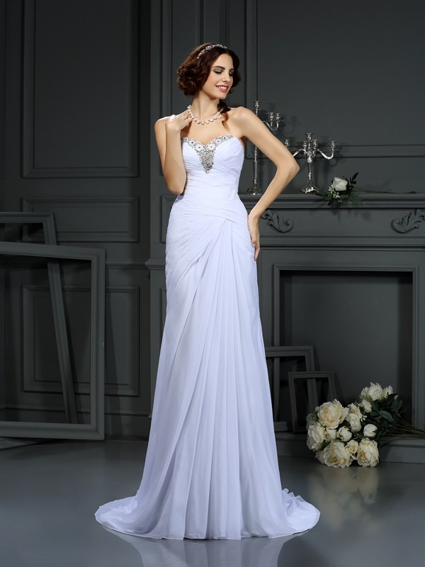 Gorgeous Sheath Sweetheart Cut Chiffon Long Wedding Dresses With Beading