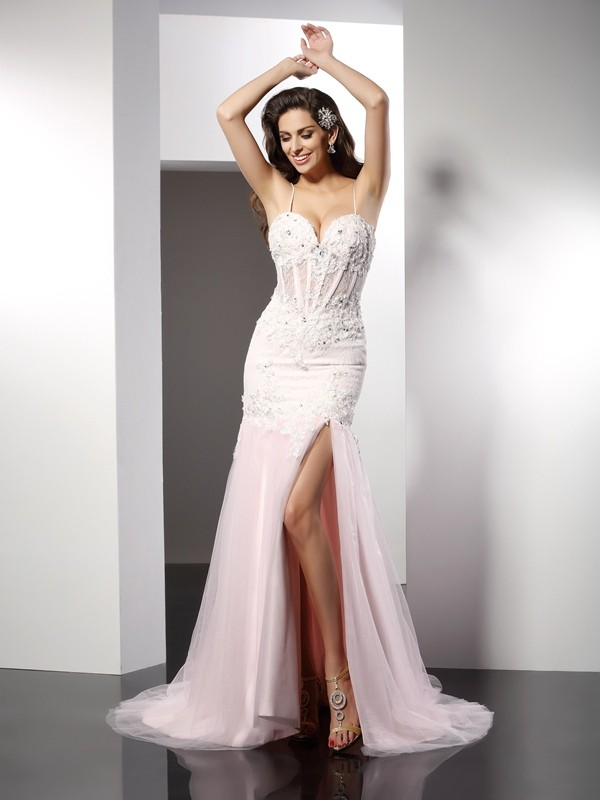 Exquisite Mermaid Spaghetti Straps Cut Tulle Long Dresses With Applique
