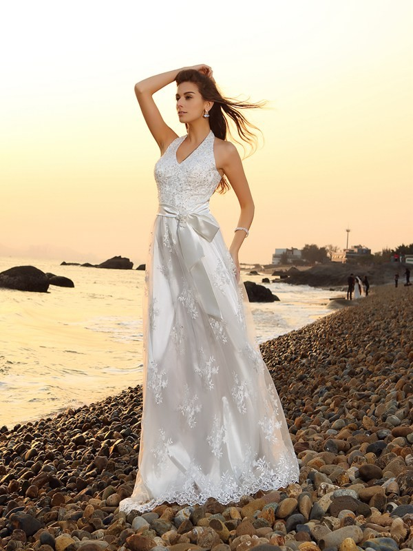 Amazing A-Line Halter Cut Lace Long Wedding Dresses With Sash/Ribbon/Belt