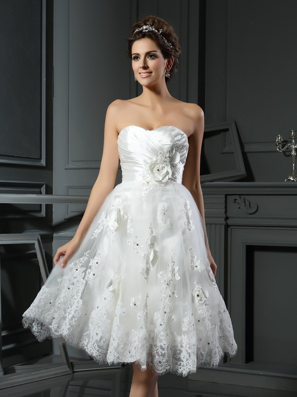Romantic A-Line Sweetheart Cut Satin Short Wedding Dresses With Ruched