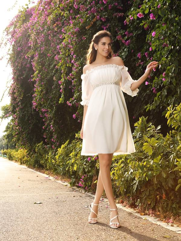 Lovely A-Line Off-the-Shoulder Cut Chiffon Short Wedding Dresses With Beading