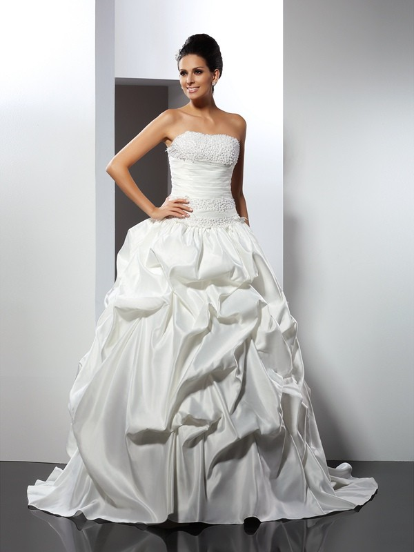 Shining Ball Gown Strapless Cut Satin Long Wedding Dresses With Ruffles