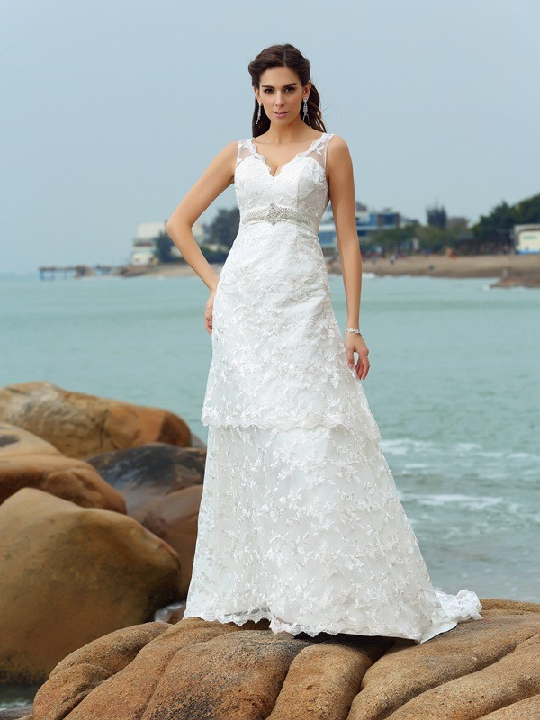 Dreamlike A-Line Straps Cut Satin Long Wedding Dresses With Applique