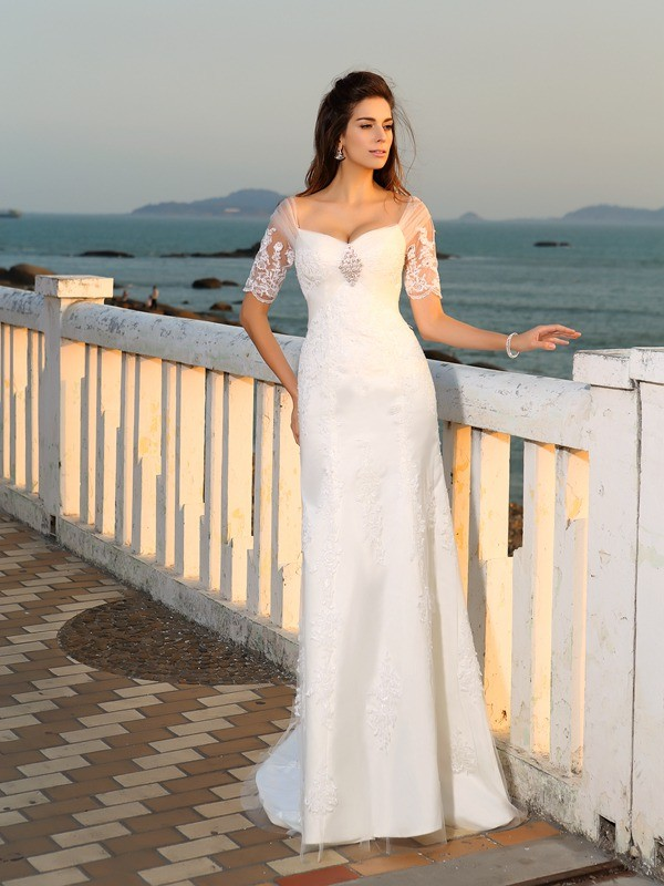 Brilliant Sheath Sweetheart Cut Satin Long Wedding Dresses With Applique