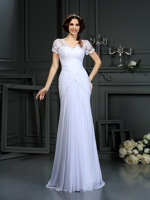 Radiant Sheath V-neck Cut Chiffon Long Wedding Dresses With Lace