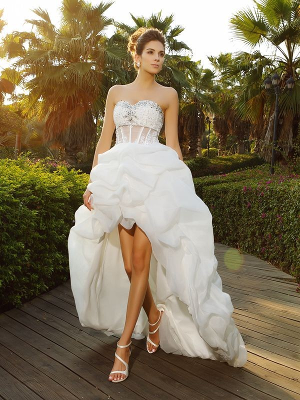 Popular A-Line Sweetheart Cut Organza High Low Wedding Dresses With Beading