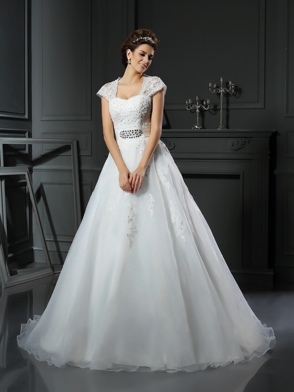 Gorgeous Ball Gown Square Cut Organza Long Wedding Dresses With Beading