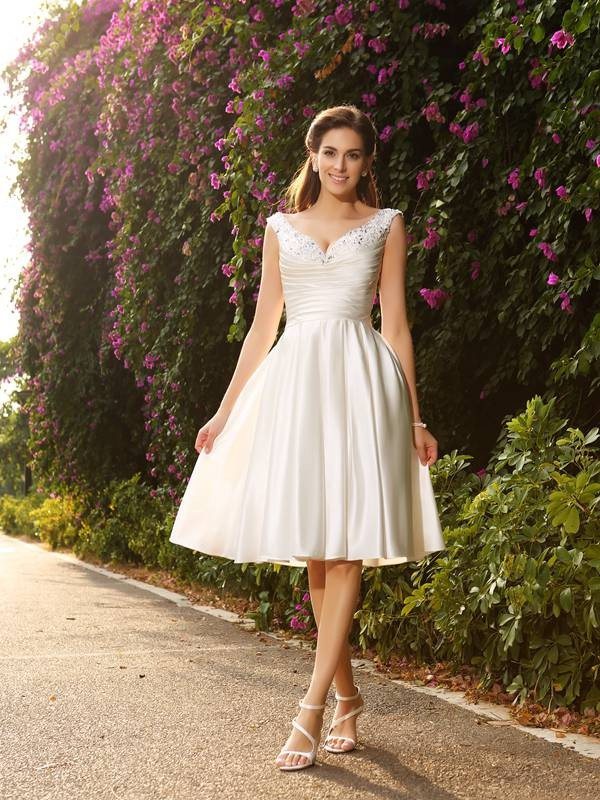 Nice A-Line V-neck Cut Satin Short Wedding Dresses With Beading