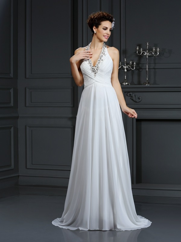 Awesome A-Line Halter Cut Chiffon Long Wedding Dresses With Beading