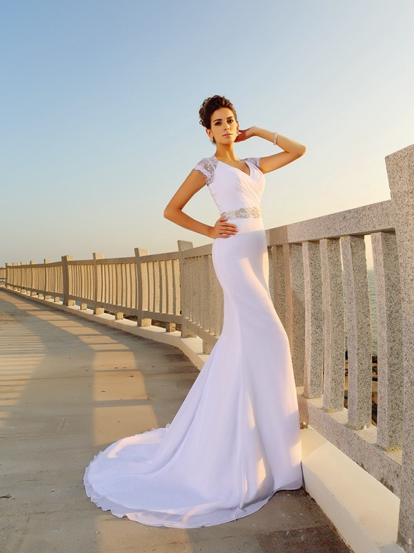 Amazing Sheath V-neck Cut Chiffon Long Wedding Dresses With Beading