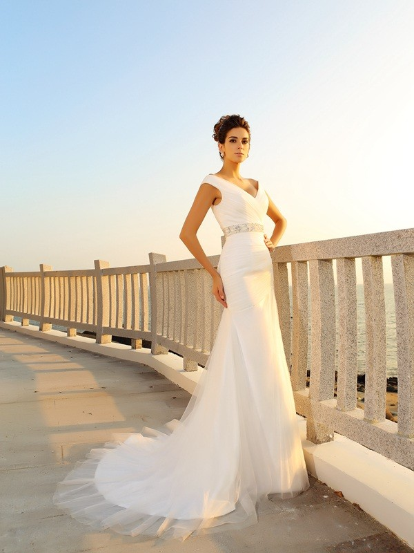 Stunning Sheath V-neck Cut Net Long Wedding Dresses With Pleats