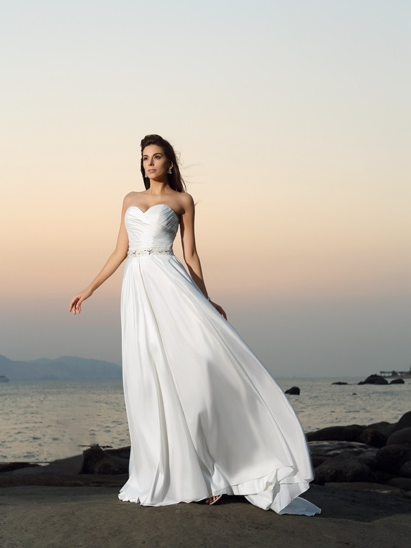 Shining A-Line Sweetheart Cut Taffeta Long Wedding Dresses With Beading