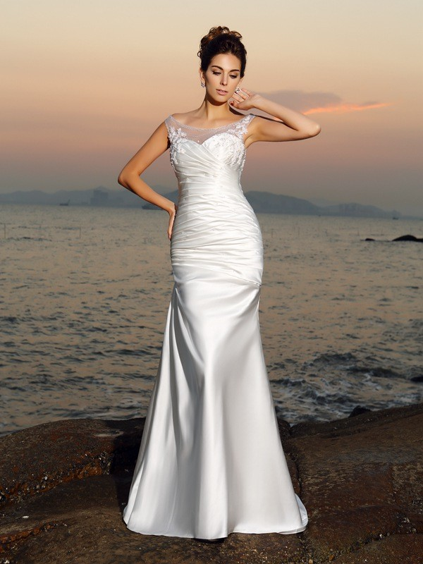 Special Mermaid Scoop Cut Satin Long Wedding Dresses With Beading