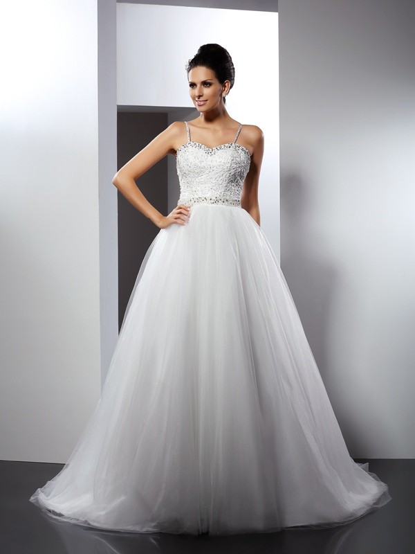 Modern A-Line Spaghetti Straps Cut Tulle Long Wedding Dresses With Beading