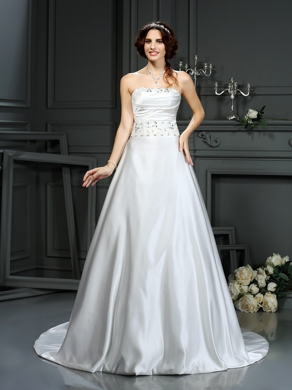 Smart A-Line Strapless Cut Satin Long Wedding Dresses With Beading