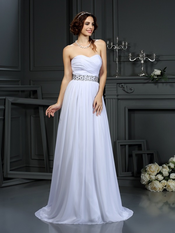 Glamorous A-Line Sweetheart Cut Chiffon Long Wedding Dresses With Beading