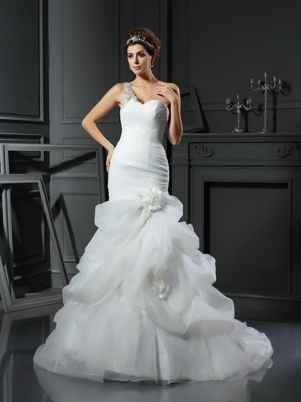 Pretty Mermaid Sweetheart Cut Satin Long Wedding Dresses With Ruffles