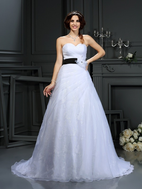 Awesome A-Line Sweetheart Cut Satin Long Wedding Dresses With Sash/Ribbon/Belt