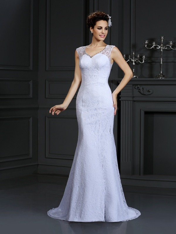 Unique Sheath V-neck Cut Satin Long Wedding Dresses With Lace