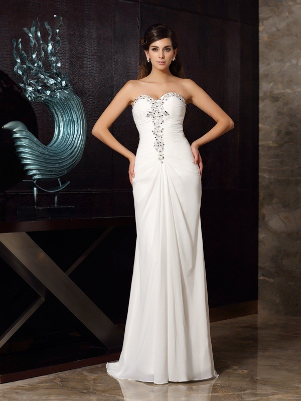 Amazing Mermaid Sweetheart Cut Chiffon Long Dresses With Beading