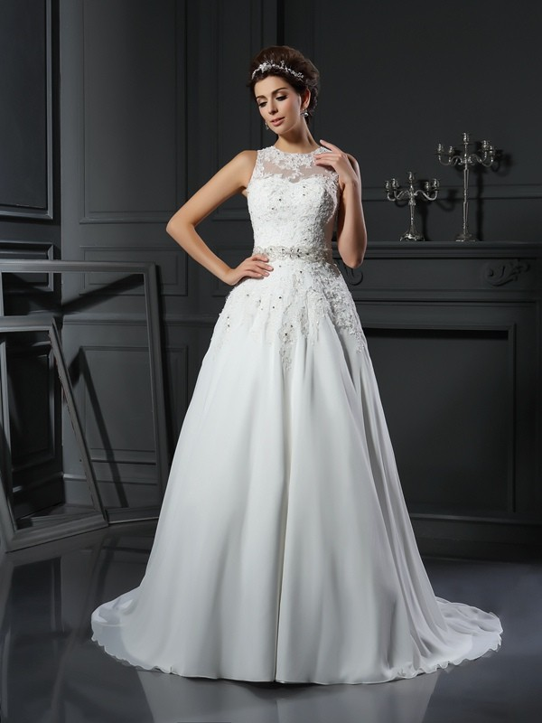 Brilliant A-Line High Neck Cut Satin Long Wedding Dresses With Beading