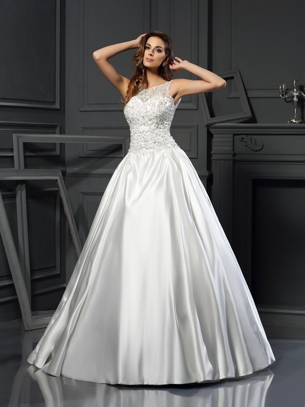 Modern Ball Gown Scoop Cut Satin Long Wedding Dresses With Applique