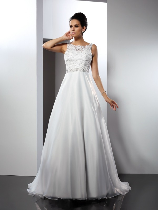 Smart A-Line Scoop Cut Satin Long Wedding Dresses With Ruffles