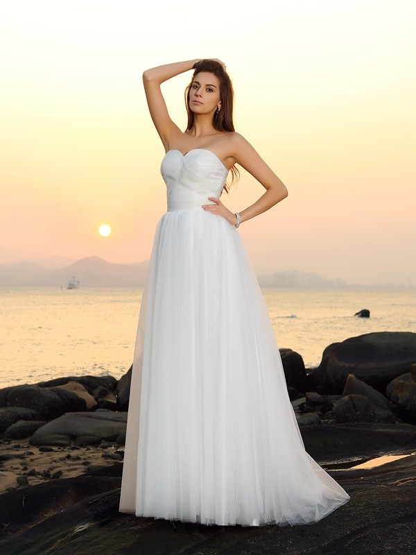 Sweet A-Line Sweetheart Cut Net Long Wedding Dresses With Ruffles