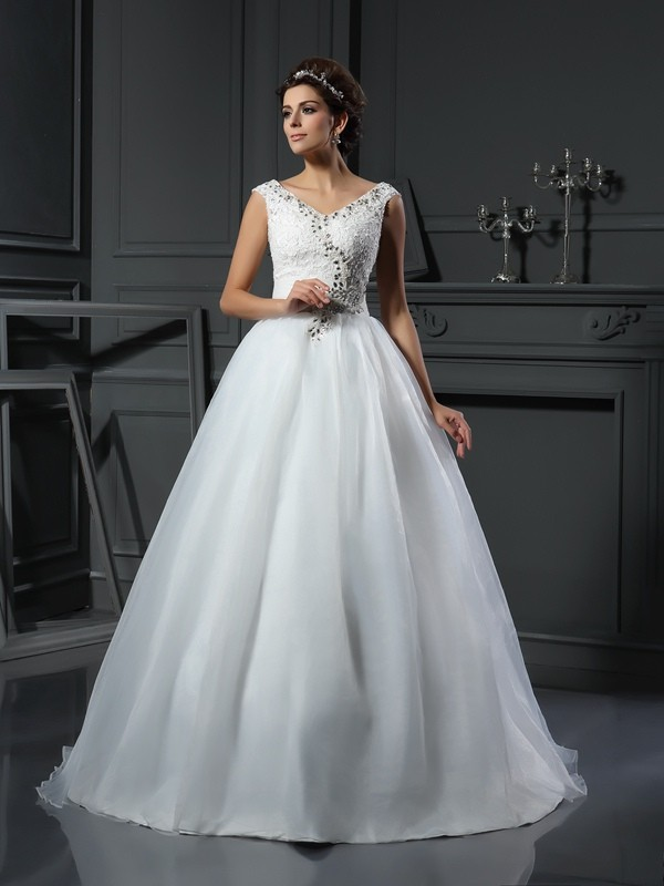 Stylish A-Line V-neck Cut Organza Long Wedding Dresses With Beading