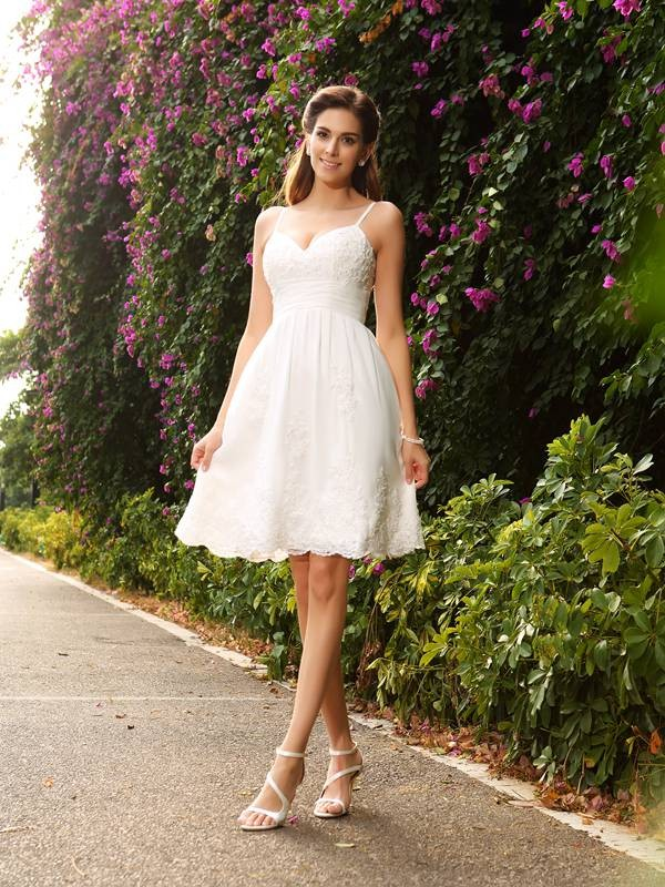 Popular A-Line Spaghetti Straps Cut Lace Short Wedding Dresses With Applique