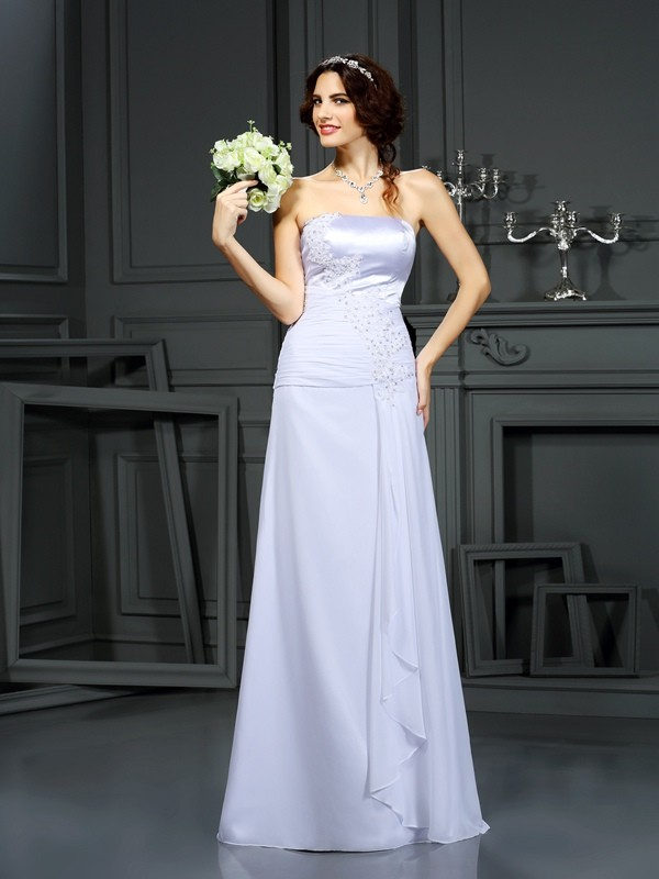 Trendy Sheath Strapless Cut Chiffon Long Wedding Dresses With Beading