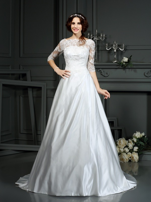 Pretty A-Line Bateau Cut Satin Long Wedding Dresses With Lace