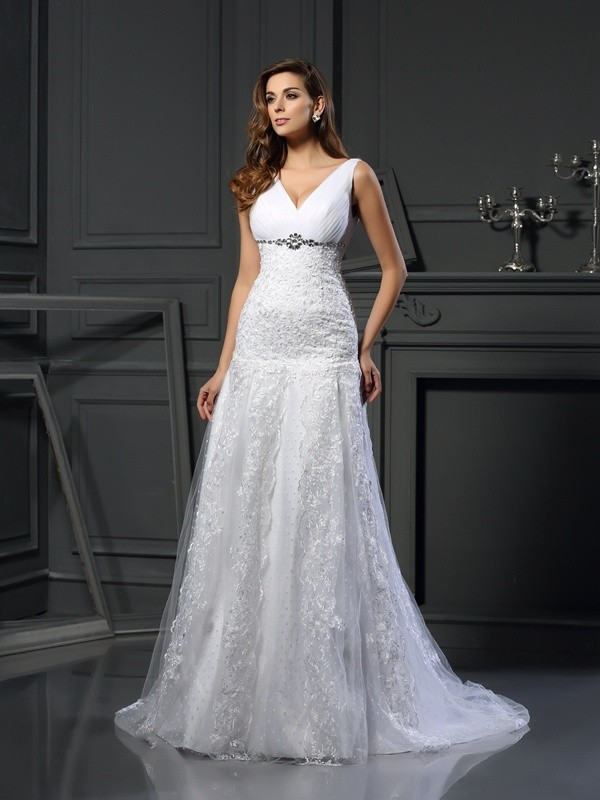 Gorgeous A-Line V-neck Cut Satin Long Wedding Dresses With Beading