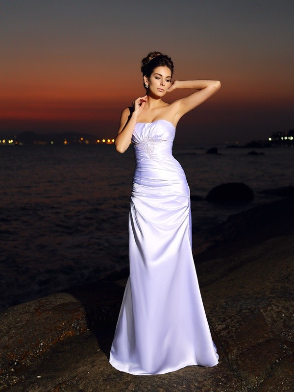 Elegant Mermaid Sweetheart Cut Satin Long Wedding Dresses With Ruffles