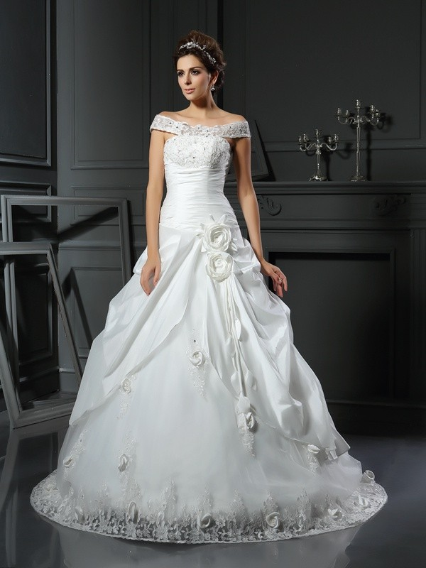 Awesome Ball Gown Off-the-Shoulder Cut Satin Long Wedding Dresses With Hand-Made Flower