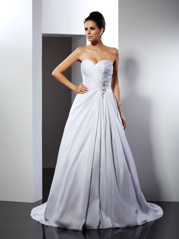 Exquisite A-Line Sweetheart Cut Satin Long Wedding Dresses With Ruffles