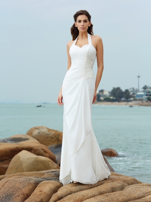Unique Sheath Halter Cut Chiffon Long Wedding Dresses With Pleats