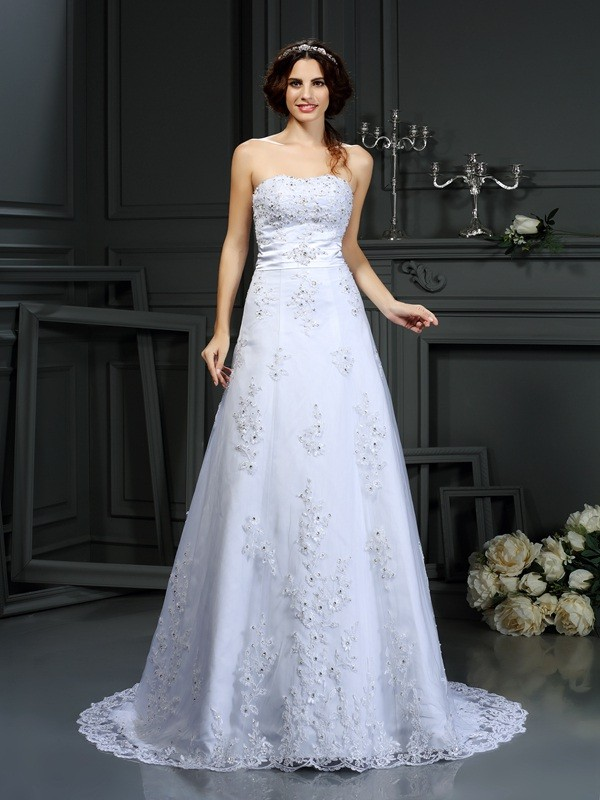 Stunning A-Line Strapless Cut Satin Long Wedding Dresses With Applique