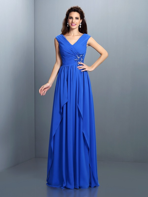Delicate A-Line V-neck Cut Chiffon Long Dresses With Pleats
