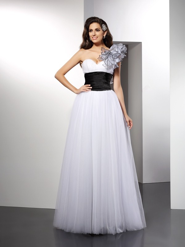 Modern A-Line One-Shoulder Cut Net Long Dresses With Sash/Ribbon/Belt