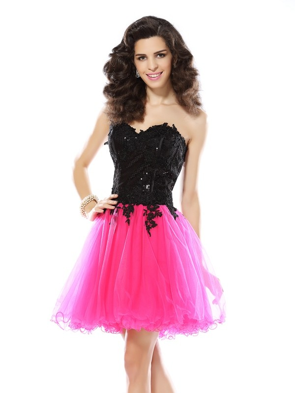 Soft A-Line Sweetheart Cut Net Short Dresses With Lace