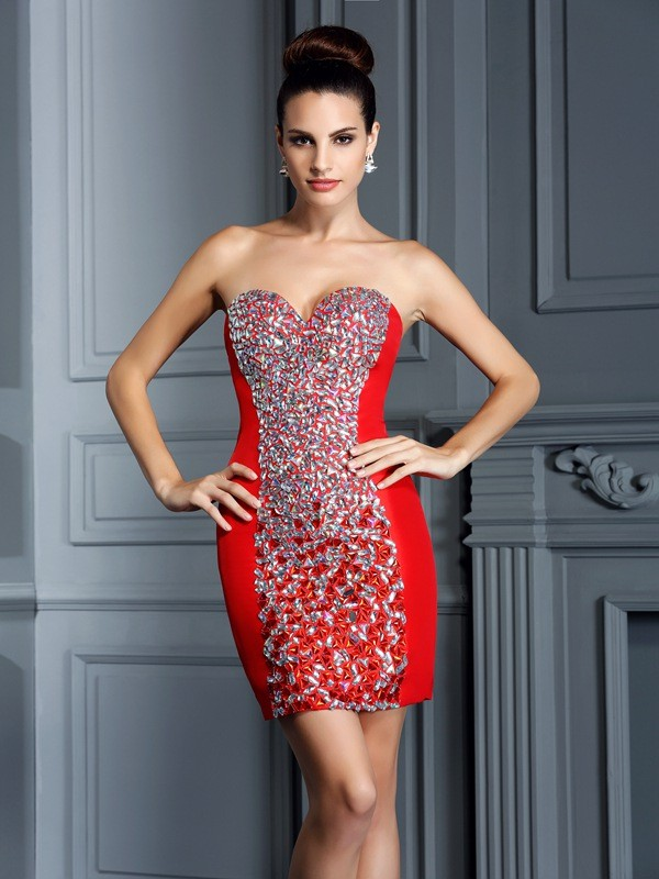 Radiant Sheath Sweetheart Cut Taffeta Short Dresses With Embroidery
