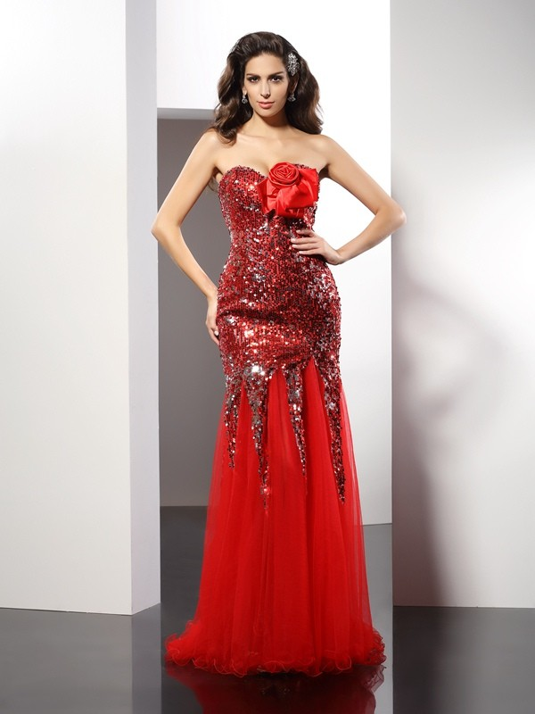 Chic Sheath Sweetheart Cut Elastic Woven Satin Long Dresses With Sequin