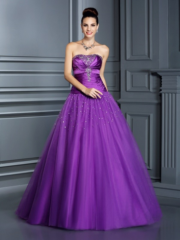 Stylish Ball Gown Strapless Cut Taffeta Long Dresses With Ruffles