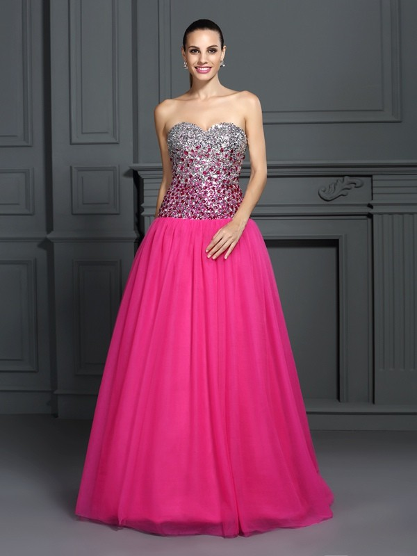 Hot Ball Gown Sweetheart Cut Organza Long Dresses With Ruffles