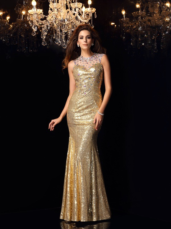Popular Mermaid High Neck Cut Sequins Long Dresses With Ruffles