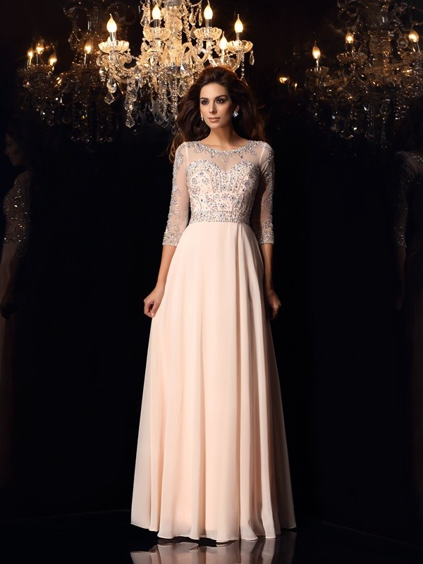 Gorgeous A-Line Scoop Cut Chiffon Long Dresses With Beading