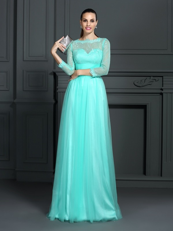Elegant A-Line Bateau Cut Elastic Woven Satin Long Dresses With Lace
